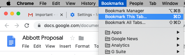 Bookmark Google Doc in Chrome
