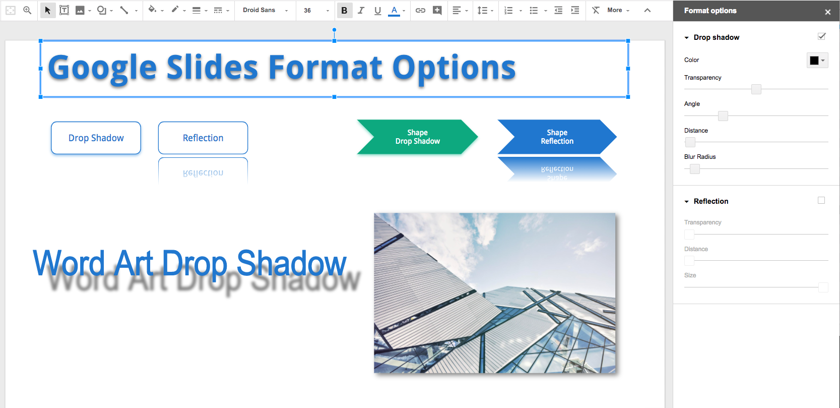 Google Slides Format Options