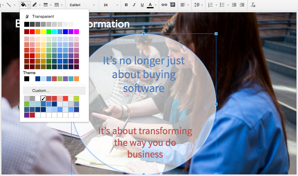 Google Slides Translucent Text Background