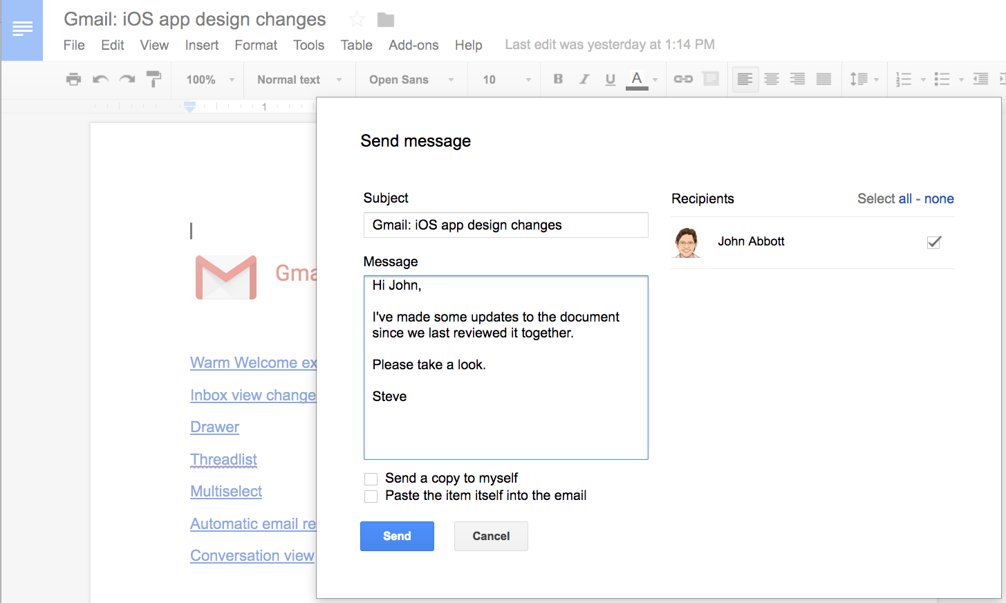 Google Docs: Email Collaborators