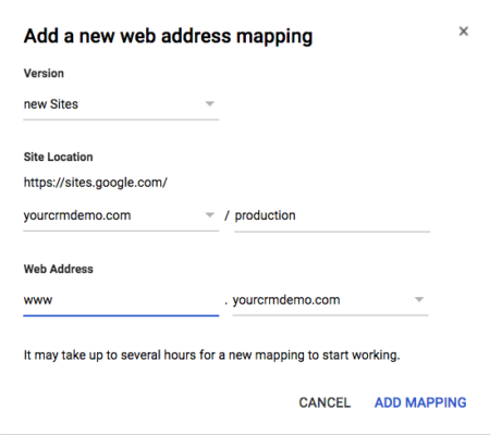 Google Sites Web Address Mapping