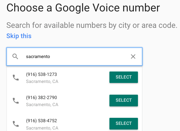 Choose Google Voice Number