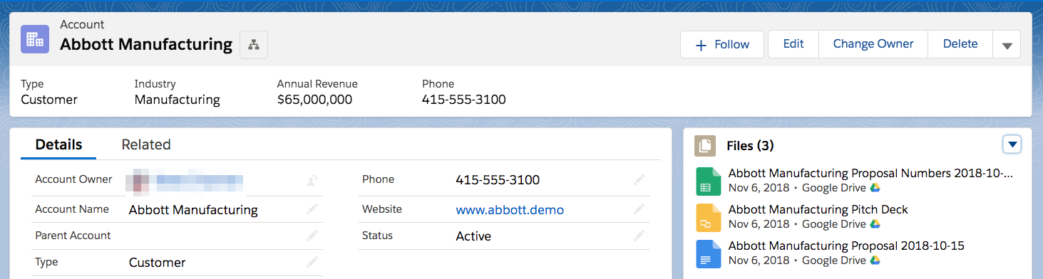 Salesforce Account with Google Files
