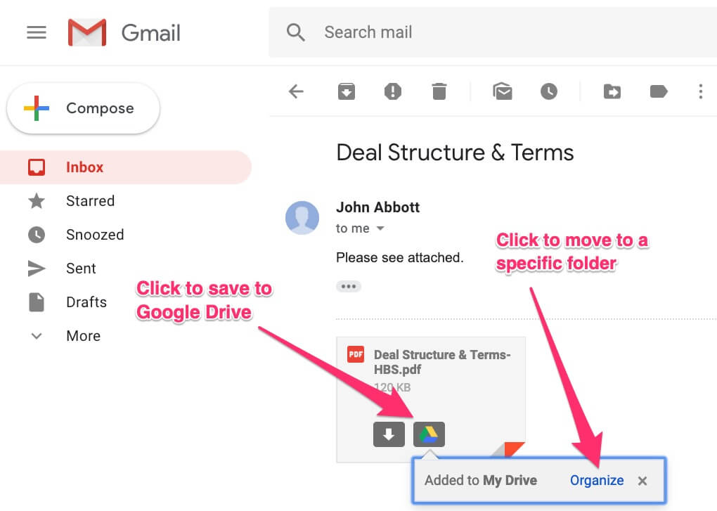 Save Email Attachment to Google Drive