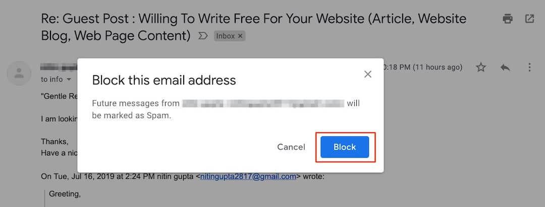 Block Sender in Gmail - Step 3