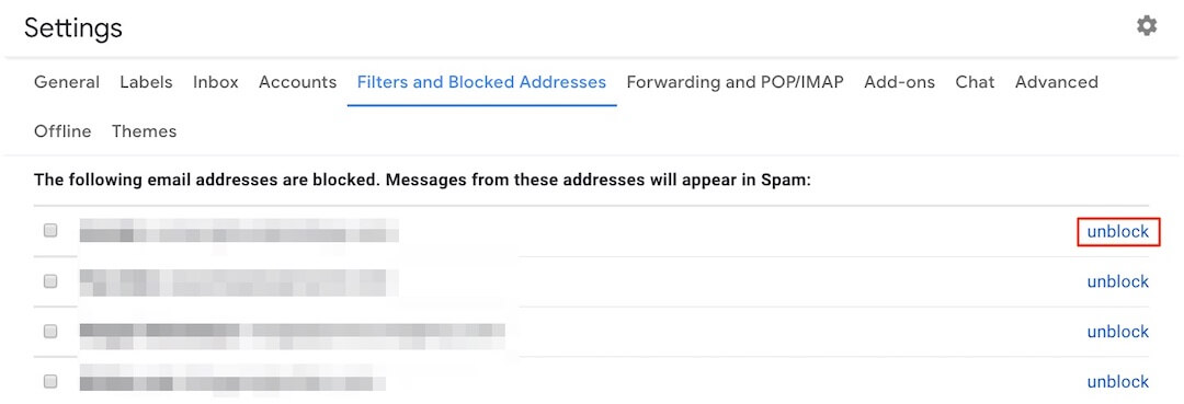 Unblock a Sender in Gmail