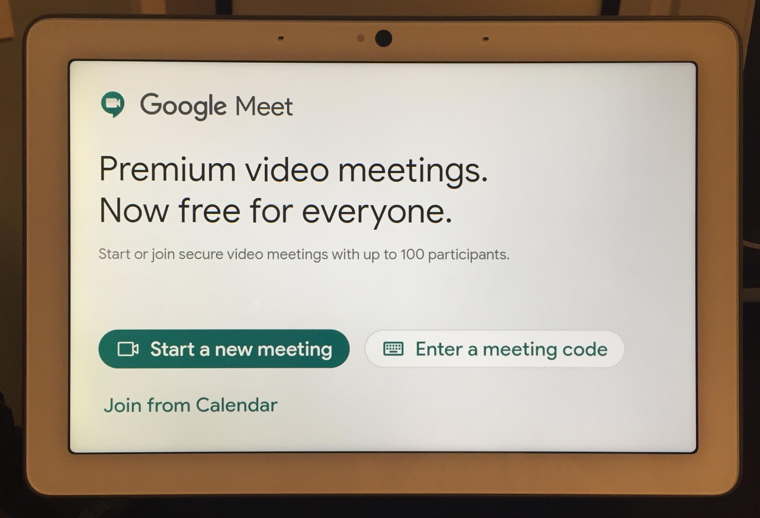Google Meet on Nest Hub Max