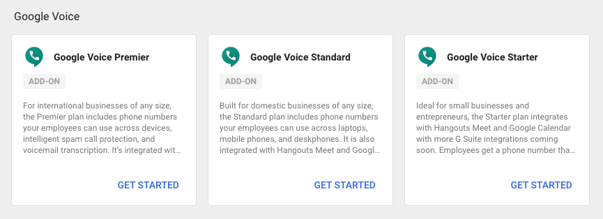Google Voice Plans in Google Workspace Admin